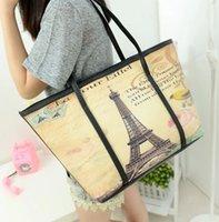 handbags paris - Eiffel Tower Women s handbag printing bag paris british flag doodle color block shoulder bag large capacity