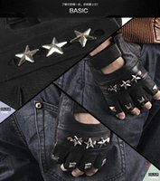 Wholesale Promotion Newest Male Cool Punk Leather Gloves Men Sheepskin Good Toughness Fingerless Inlay Alloy Star Jazz Rock Gloves