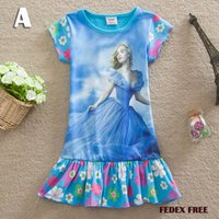 Wholesale 2015 Cinderella Kids Dress Colors Sizes Y Girls Cinderella Dress Blue Butterfly Princess Baby Girl Party Dresses FEDEX FREE