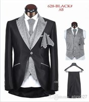 Cheap hot sale mens suits wedding groom suit men for wedding one button five pieces black white sliver A123