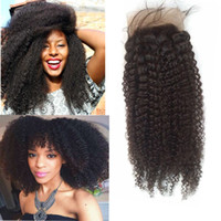 afro beauty - Unprocessed peruvian human hair invisible part lace frontal x4 afro kinky curl hair closure lili hot beauty hair