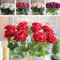 artificial velvet roses - Red Valentine s Mini Velvet Rose Spring Artificial Fake Flower Bouquet Room Wedding Hydrangea Decor