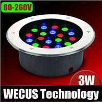 Al por mayor (WECUS) LED lámpara subterráneo, con vistas al jardín Plaza luces, luces enterradas coloridos al aire libre, 3W 80-260V, XJ-HWD0047