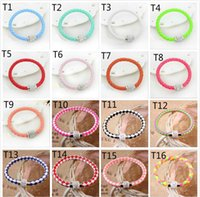 balls slaps - Mix colors Fluorescent Neon Color PU Leather Bracelet with Crystal Shamballa Disco Ball Magnetic Clasp Bracelet