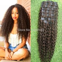 Wholesale Real Human Hair Extension Clip In Brazilian Clip In natural curly brazilian virgin hair extensions Dark Brown inch