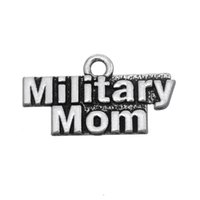 alphabet military - New Fashion Easy to diy Metal Alphabet Military Mom Charms Jewelry For Women jewelry making fit for necklace or bracelet