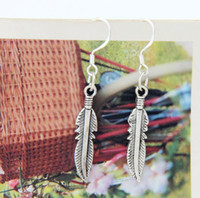 antique feathers - New Antique Silver Cute Feather Charm Earrings Silver Fish Hook Chandelier E564 x5 mm