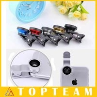 Wholesale 3 in Lens Metal Clip Fisheye Lens Universal Wide Angle Micro Lens for Apple iPhone S C S Samsung Galaxy S6 S5 S4 Note