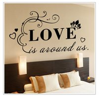 abstract art love - Hot SellingWall Papers Love is around us Letters Transprent Waterproof Vinyl Wall Quotes Decal PVC Home Decor Wall Stickers