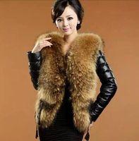 Wholesale 2015 Hot sale Faux Fur Collar Leather Jacket Women Fashion faux leather winter warm coat Black Leather coat S XXXL