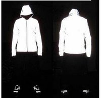 Wholesale 2016 Hot Autumn Winter Cool BLANK LOGO Full Reflective Jacket M Jacket Outdoor Hip Hop Sports Jacket Men With Hooded M XXL