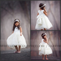 baby on line - Ivory Flower Girl Dresses New Jewel Neck Big Bow Back Lace Tulle Rustic Pageant Gown Hi Lo Country Baby Dresses Cheap On Sale