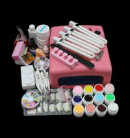 Wholesale BTT Hot Sale Pro W UV GEL Pink Lamp amp Color UV Gel Nail Art Tool Kits Sets