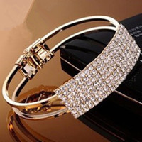 Wholesale New Fashion Elegant Women Bangle Wristband Bracelet Crystal Cuff Bling Lady Gift Bracelets Bangles Silver Gold hot sale