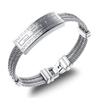 american wire cable - New Design Silver Stainless Steel Cable Wire ID Bangle Bracelet Jewelry For Father Husband