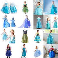 Wholesale Frozen Fever Dresses Cartoon Princess Elsa Blue Dress With Lace Babies Clothes For Y Girls Kids Baby Costume Children Clothing Free DHL