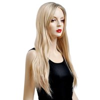 Photoelectric Detectors kanekalon hair - Female Glamorous Charming fashion long gold blonde black wave100 Kanekalon Fiber Synthetic women Hair High quality fashion lady Wig H9339Z