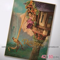 Cheap Vintage posters decorate Rapunzel cartoon movie poster comic retro kraft paper sticker photos printed draw wall hanging picture
