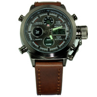 analog watch lcd - New Arriva AMST Unique Vogue Men Swimming Digital LCD Quartz Outdoor Sports Watches Relogio Masculino Clock Handmade Leather Canvas Strap