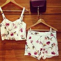 Wholesale Women Floral Piece Set Playsuit Top Shorts Summer Ladies uk sz to