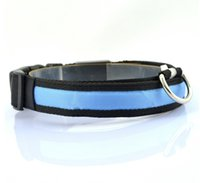 Wholesale New Durable Nylon Material Multi colors Led Flashing Dog Collar Length Adjustable Led Pet Collar For Dogs