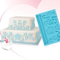 baroque decor - Blue Silicone Baroque Design Pattern Flower Leaf Embossing Cake Mold Decor Kitchen Cooking Tool Hot