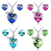 Wholesale New Arrivals Austrian Crystal Heart Earrings Pendant Necklaces For Women Colors High Quality Lady s Wedding Jewelry Sets