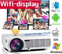 achat en gros de vidéo complète-LED96 Android WIFI Vidéo HDMI DVB 1280x800 Full HD 1080P Home Cinéma Projecteur LED 3D sélectionnable rideau d'écran ou de montage au plafond comme cadeau