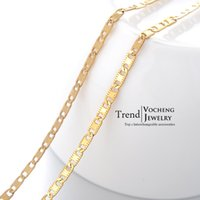 Cheap Simple Design 55cm Stainless Steel Blade Chain Lobster Clasp Metal Fadeless Gold Necklace (VC-021) Vocheng Jewelry