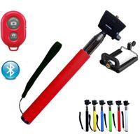 Wholesale Extendable Handheld Bluetooth Mobile Phone Monopod Camera Tripod Phone Holder Self Selfie Stick for iPhone Samsung MOQ