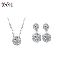 american girl store - Teemi Cheap Jewelry Store New Fashion Top Quality Elegant Clear Double Round Cubic Zircon Women Girl Wedding Earrings Necklace Set