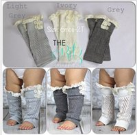A-Line lace leg warmers - 2015 new hot sell leg warmers baby hollow out lace Warm feet set of buttons Cotton short legs boot cuffs