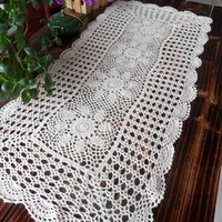 crochet table cloth - cotton crochet tablecloth table cover towel for coffee table cutout rustic decoration towel cover table cloth