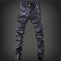 animal ski trousers - 2016 Men s leather pants tight pants big yards PU leather pants outdoor jogging trousers ski pants