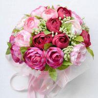 Cheap Free Shipping High Quality Fuchsia Hot Pink Rose Wedding Bridal Flower Bouquet Handmade Fabric Wedding Supplies Ready to Ship Items