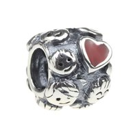 Wholesale Beads Hunter Jewelry Authentic Sterling Silver Happy Family with Big Enamel red Heart Charm big hole bead For mm European Bracelet