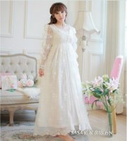 Nightgowns & Sleepshirts cotton nightgown - New women High quality nightgowns Princess spring autumn sleepwear women long white pajamas cute nightwear nightdress