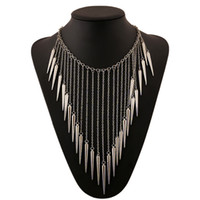 Wholesale 2015 New Collar Jewelry European Style Vintage Trench Fashion Necklace Rivet Long Tassel Punk Accessories Women