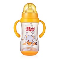 Wholesale Baby Bottles Hot ml Cute Baby Cup Kids Children Straw Handle Bottle Silicone Baby feeding bottle
