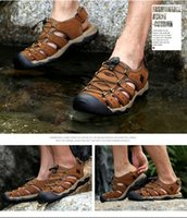 Wholesale Mens Beach sandals Outdoor Sandals New Summer Athethic Shoes Sport Sandals Breathable and Anti collision Hiking Sandals leather uppers