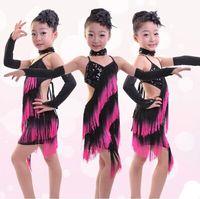 latin dress - Tassel Latin dance skirt for girls High quality Fashion Latin dresses for children Fast delivery