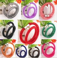 beaded woven bracelet - Boutique double ring bracelet Woven mesh bracelet fashion bracelet network Swarovski new bracelet Handmade WOMEN bracelet DD