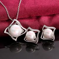 genuine diamond earrings - Nice Earrings necklace set Original Genuine Pearl k Golden Lady Girls Women s062 gift box free New Fashion Jewelry