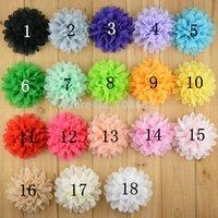 big hair flowers - 18 color alternative big chiffon hair flower cm headband flowers no clips flat back FH03