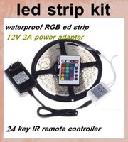 lamp supplies - rgb led strips lgiht lamp m leds SMD ir remoter controller v a power supply pin connector cable led strips lighting dhl DT026