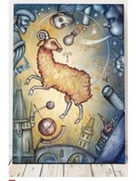 aries painting - NEW hand painted oil painting abstract style of paintings zodiac sign Aries