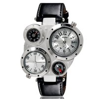 auto compass thermometer - OULM Brand Sports Watches Mens Quartz Watch Compass Thermometer Leather Strap Wristwatches Climbing Multiple Time Zone Dropship