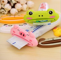Wholesale 2015 New Toothpaste Tube Squeezer Easy Squeeze Paste Dispenser Roll Holder Cartoon Frog Animal