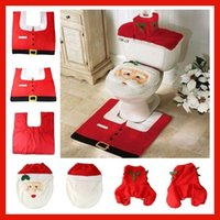 toilet seat covers - Cheap Santa Toilet Seat Cover and Rug A Set Bathroom Sets Christmas Party Wedding New Year Home Decorations Festival Supplies