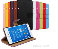 Plastic For Sony Ericsson For Christmas Genuine Real Leather Wallet Pouch Case For Sony Erisson Xperia Z3 Z4 Z5 Compact Mini Holster Holder credit card skin cover Colorful Luxury